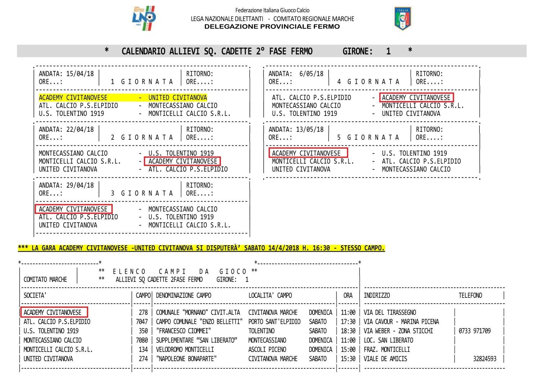 Allievi Cadetti 2^fase-girone1