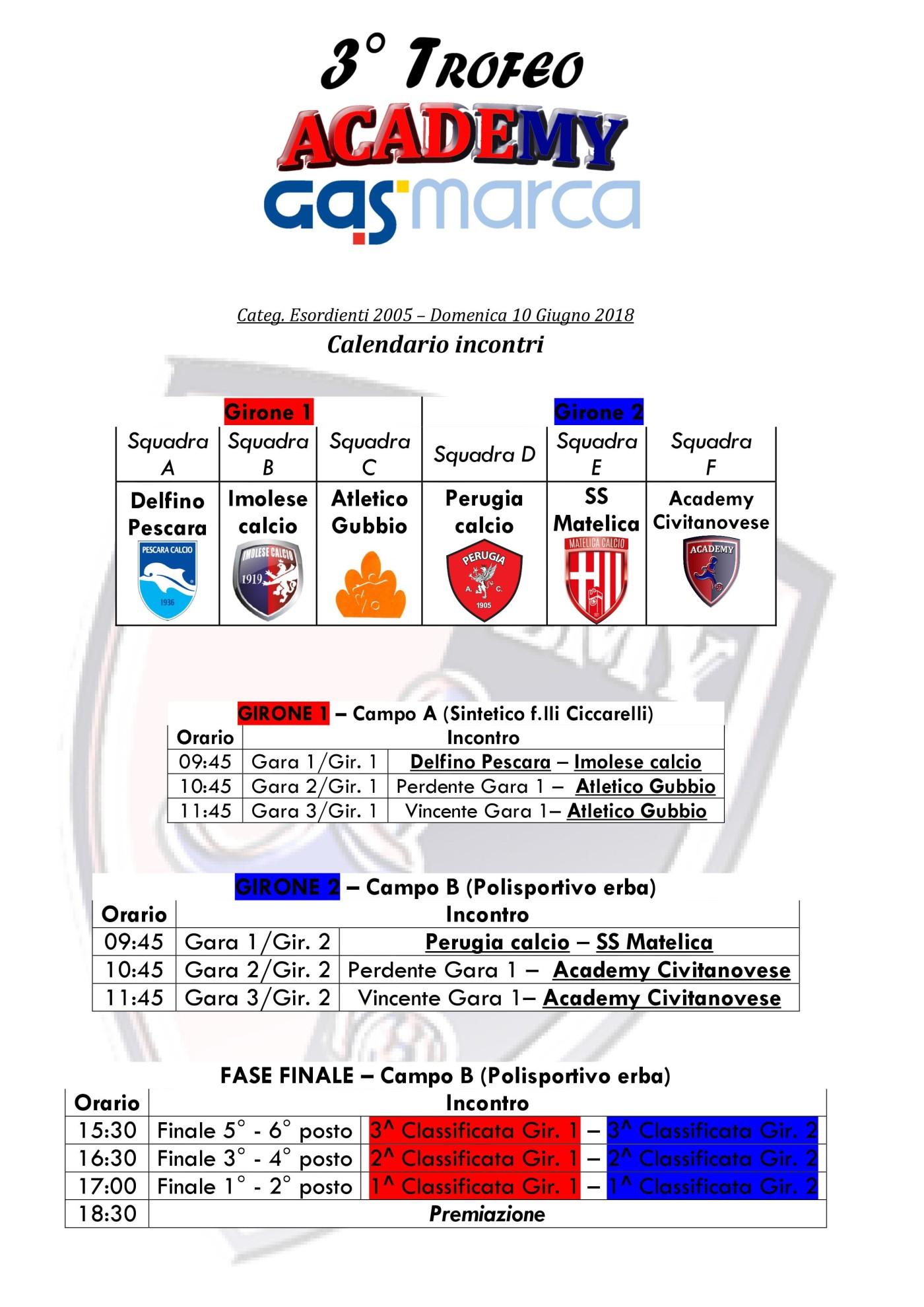 calendario incontri 3° Academy-GasMarca